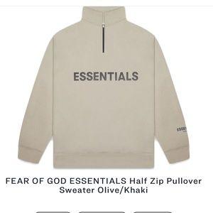 Fear of God Essentials Olive half zip